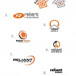 First round of logo designs for Reliant Homes. Had to be orange and a circle in it.